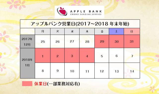 アップルバンク年末年始の営業日