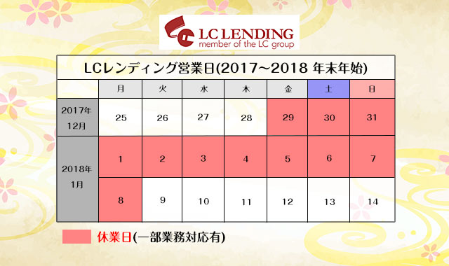 LCレンディング年末年始の営業日